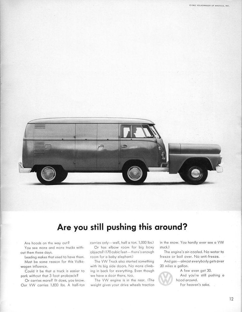 Volkswagen Ad Pushing It Vintage Volkswagen Volkswagen Vintage Vw
