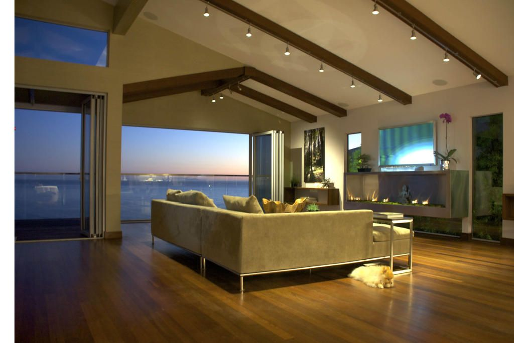 Interior, Contemporary House With Energy Saving Interior Design: Grey Sofa In Living Room With Blue Sea Scene