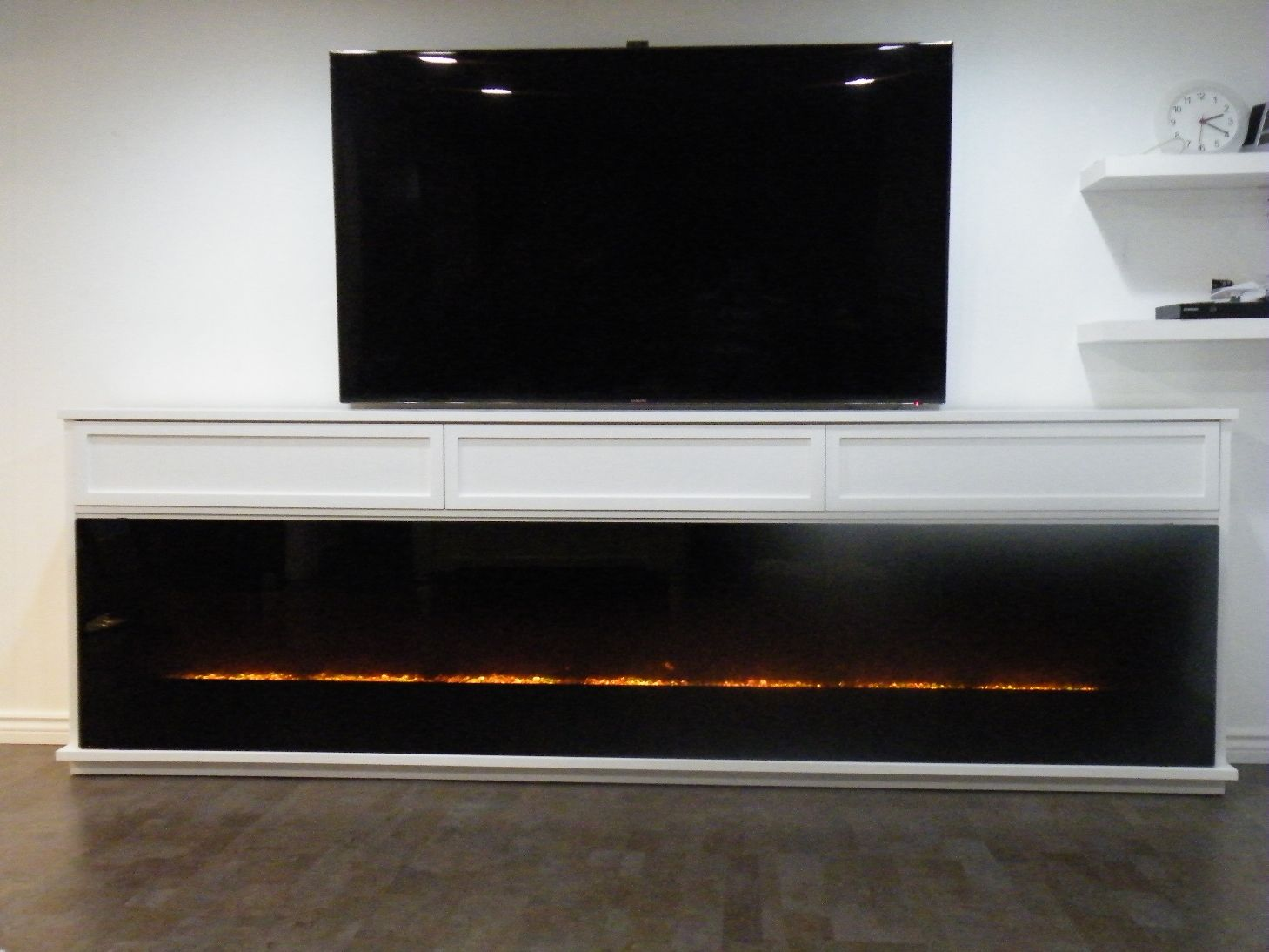 Custom Media Cabinet 119 Wide Featuring 115 Amantii Electric Fireplace Three Doors Across Top For Component Storage