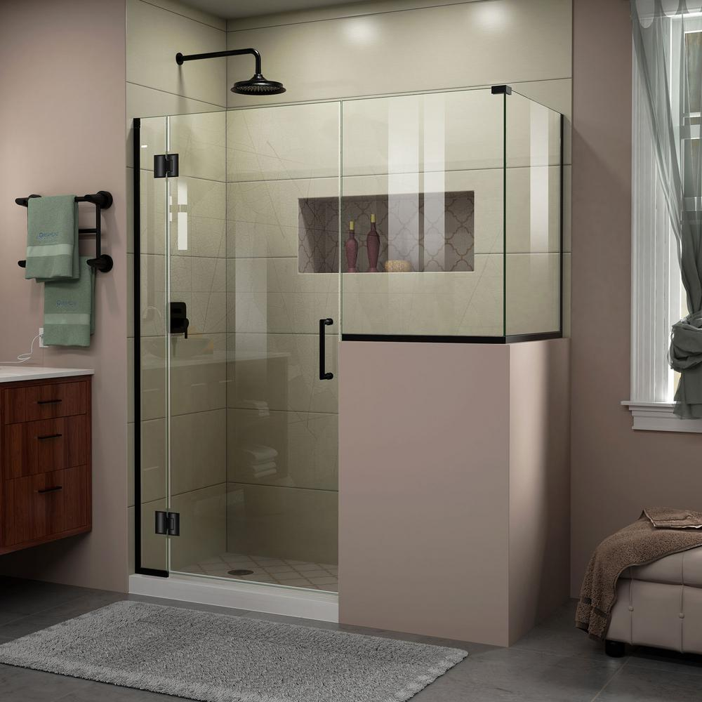 Dreamline Unidoor X 60 In W X 36 3 8 In D X 72 In H Frameless Hinged Shower Enclosure In Satin Black E124303636 09 Corner Shower Enclosures Frameless Shower Enclosures Shower Doors