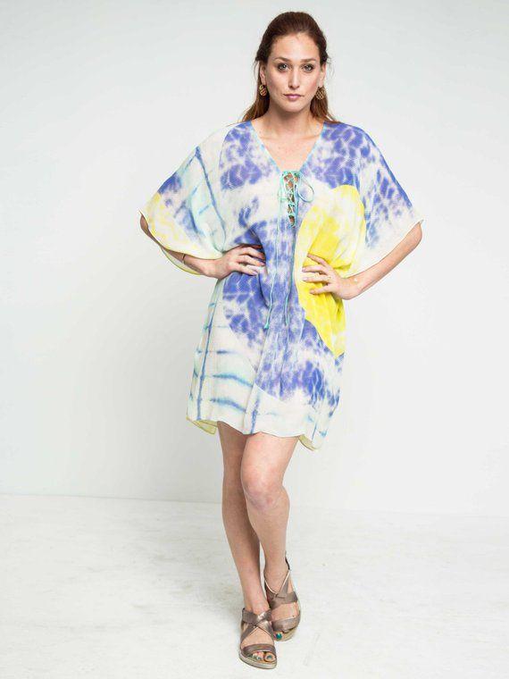 237ac4d9ae SALE 40% off- Grand Cayman Chiffon Lace-Up Kaftan Dress-  coverup-beachwear-resortwear-Swimwear-Vacat