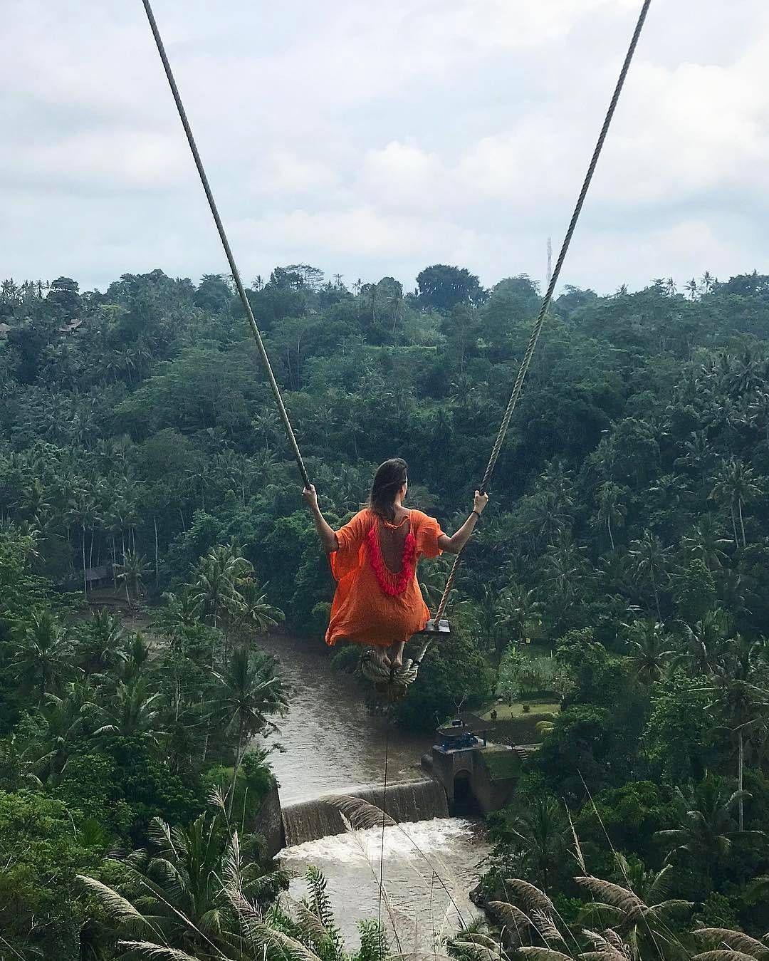 Swinging in the wood Ubud, Bali, Indonesia Photo