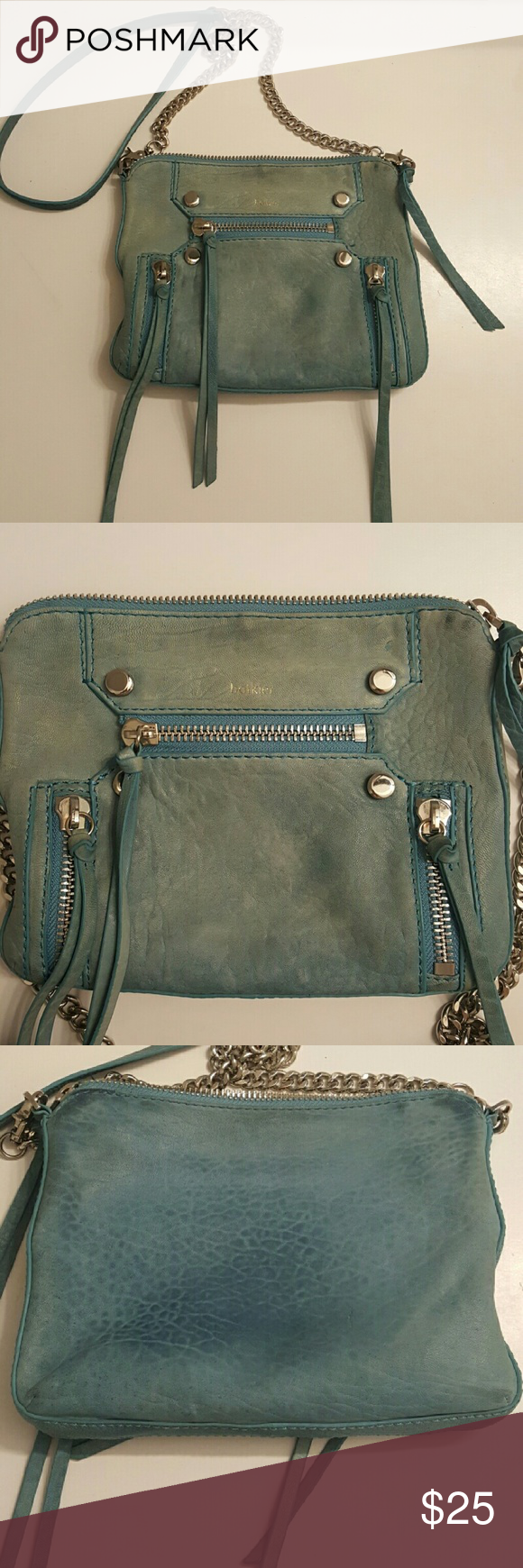 Botkier Logan Crossbody Purse Light blue Botkier Cross Body Purse. Was very loved. Does have some discoloration on back from jeans shown in 3rd photo and around edges from everyday use. No rips. 100% Leather. Botkier Bags Crossbody Bags