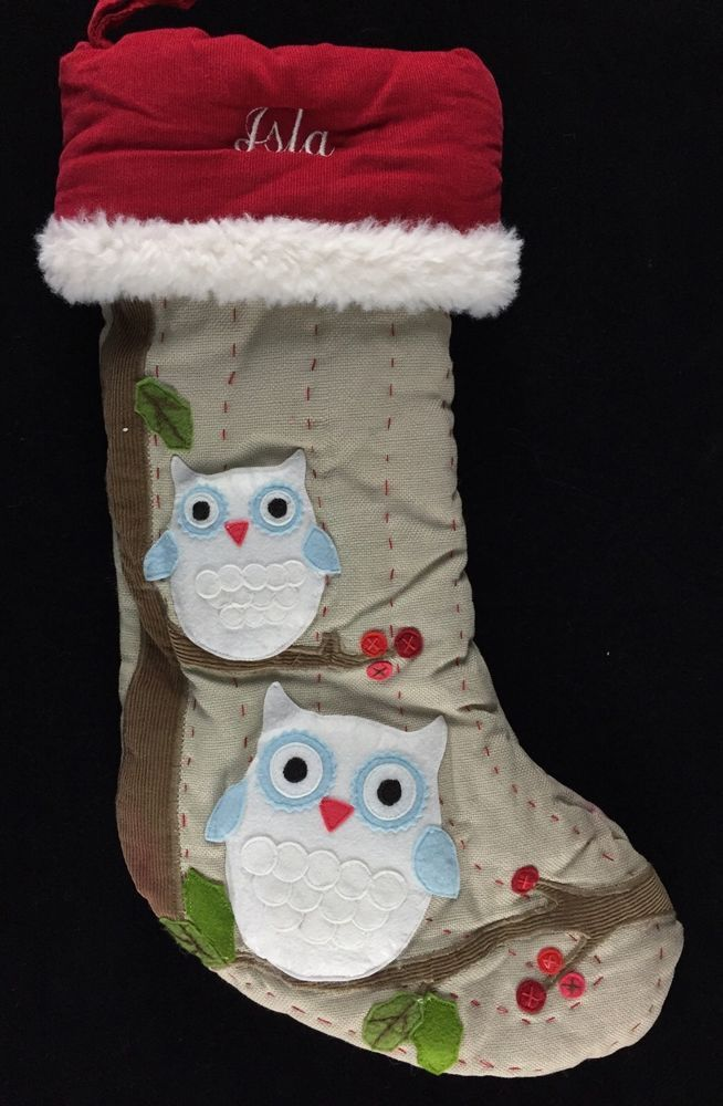 Pottery barn kids christmas woodland owl stocking *isla* new girls ...
