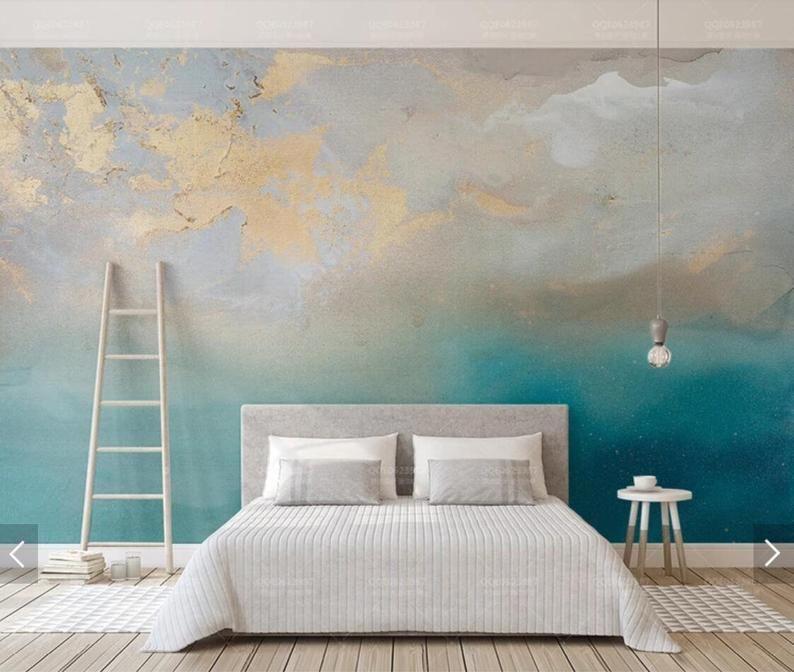 Abstract Blue Sea Gold Murales Photo Wallpaper Hand Oil Painting Home Wall Decor Murals Custom Panneau Canvas Mural Wandtapete Wohnzimmer Wandbild Wand Wohnen