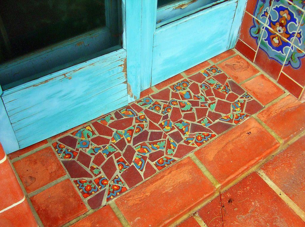 Tiled Mosaic Faux Door Mat Mosaic Flooring Mosaic Tiles Tiles