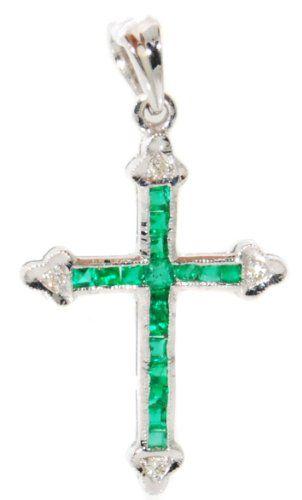 18k white gold emerald diamond cross pendant jewelry p0112 18k white gold emerald diamond cross pendant jewelry p0112 bkgjewelry http aloadofball Gallery