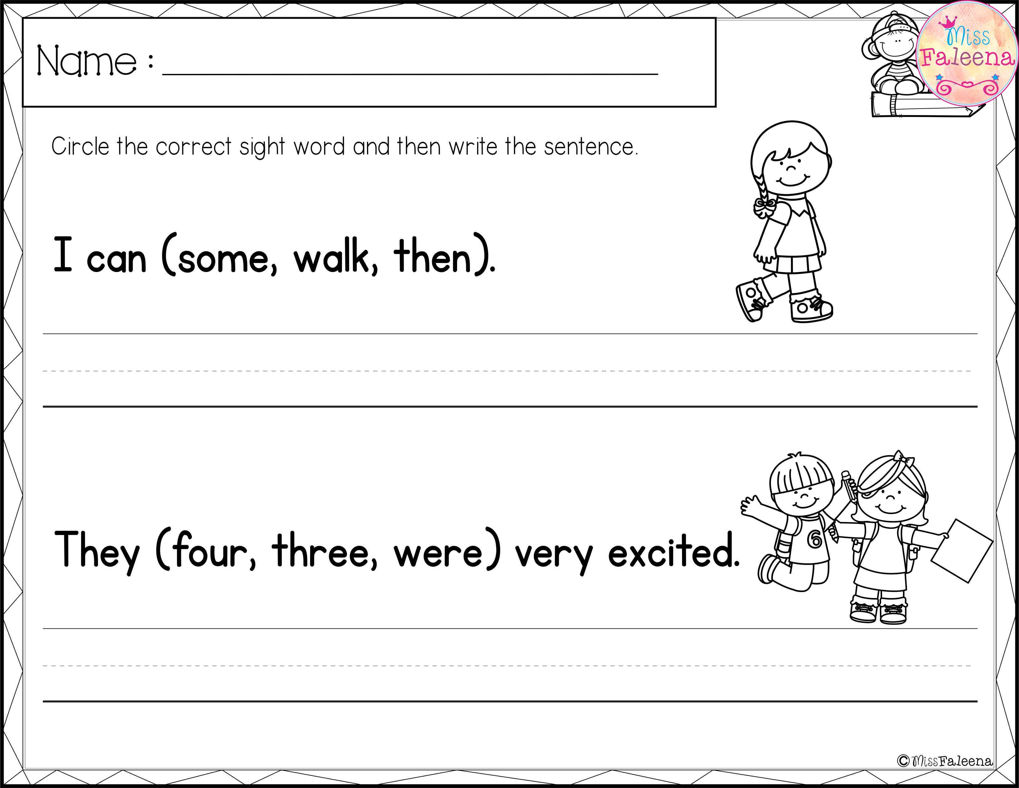 Sight Word Sentence Writing First Grade
