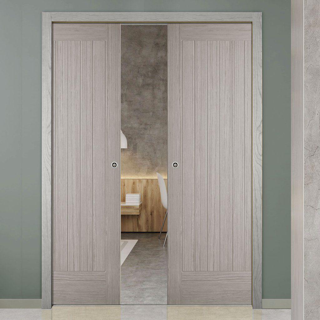 Double pocket somerset light grey internal doors