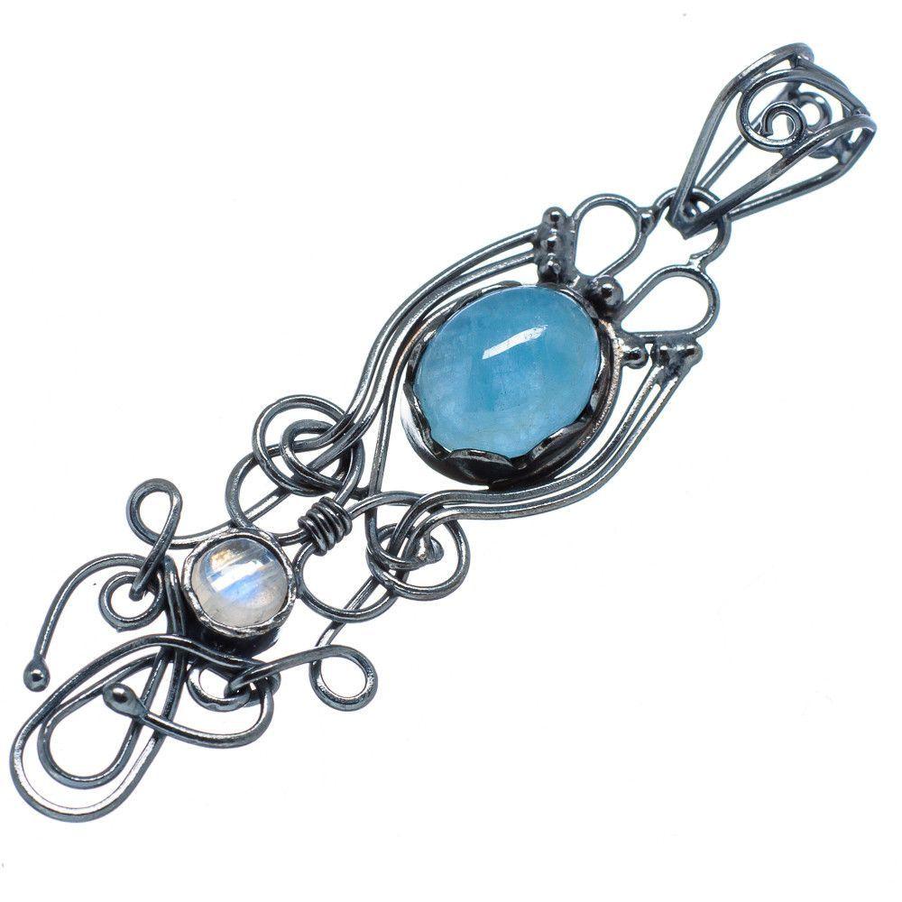 "Natural Aquamarine, Rainbow Moonstone 925 Sterling Silver Pendant 2"" PD568326"