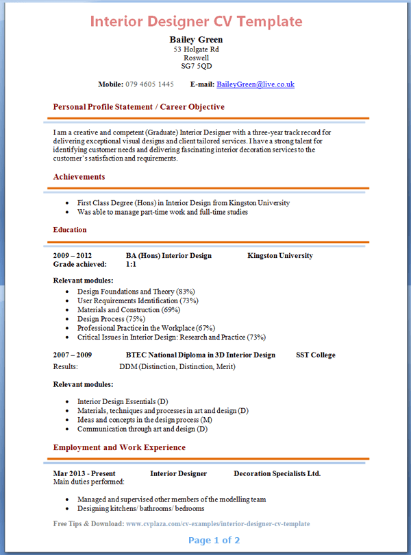 Awesome Resume Format For Interior Designer Pdf And Review Check More At Https Thegoodinterior Com Awesome Resume Format For Interior Designer Pdf And Review Di 2020