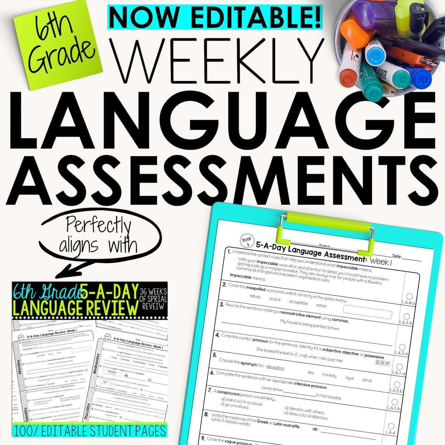 6th Grade Weekly Language Assessments