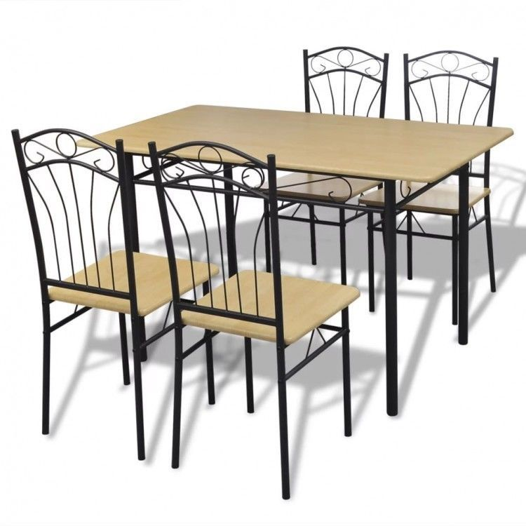 Dining Table Chairs Set of 5 Kitchen Room Stand Steel Frame Recliner
