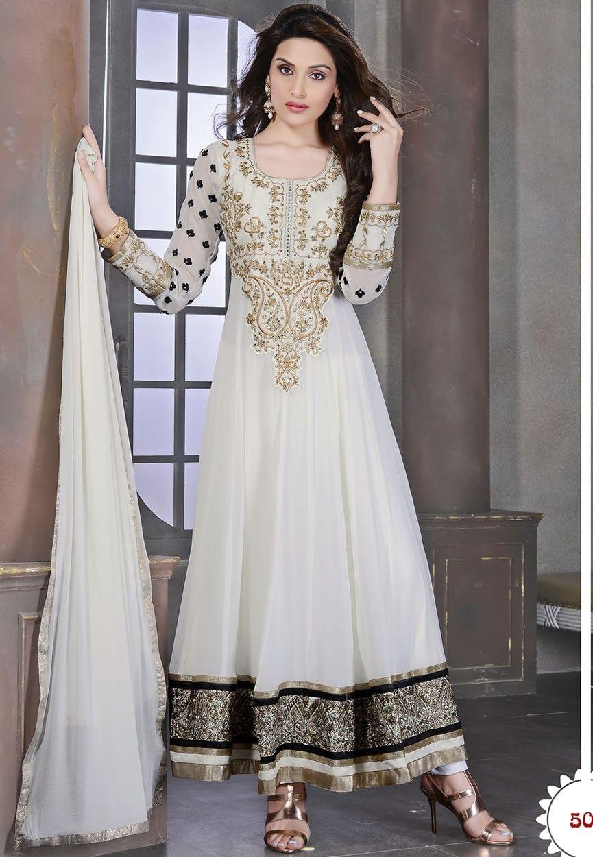 Unique White Color Wedding Wear Designer Anarkali Suit At Aimdeals ...