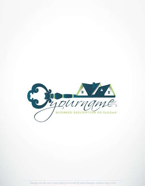Online Real Estate Branding Exclusive House Key Logo Design Business Card Holder