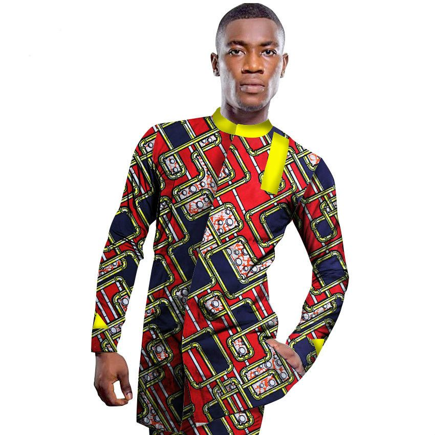 9edc91c5577 African Traditional Dresses New Hot Sale Printed 2017 African Men s Shirts  Stitching Shirt Collar Long-sleeved Cotton Wax Cloth  Affiliate