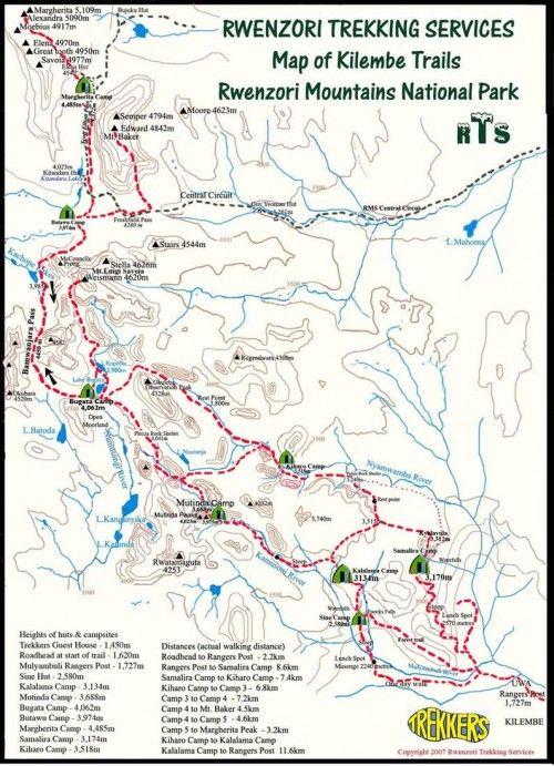 Rwenzori Trekking Services Kilembe Trails map Uganda How to climb