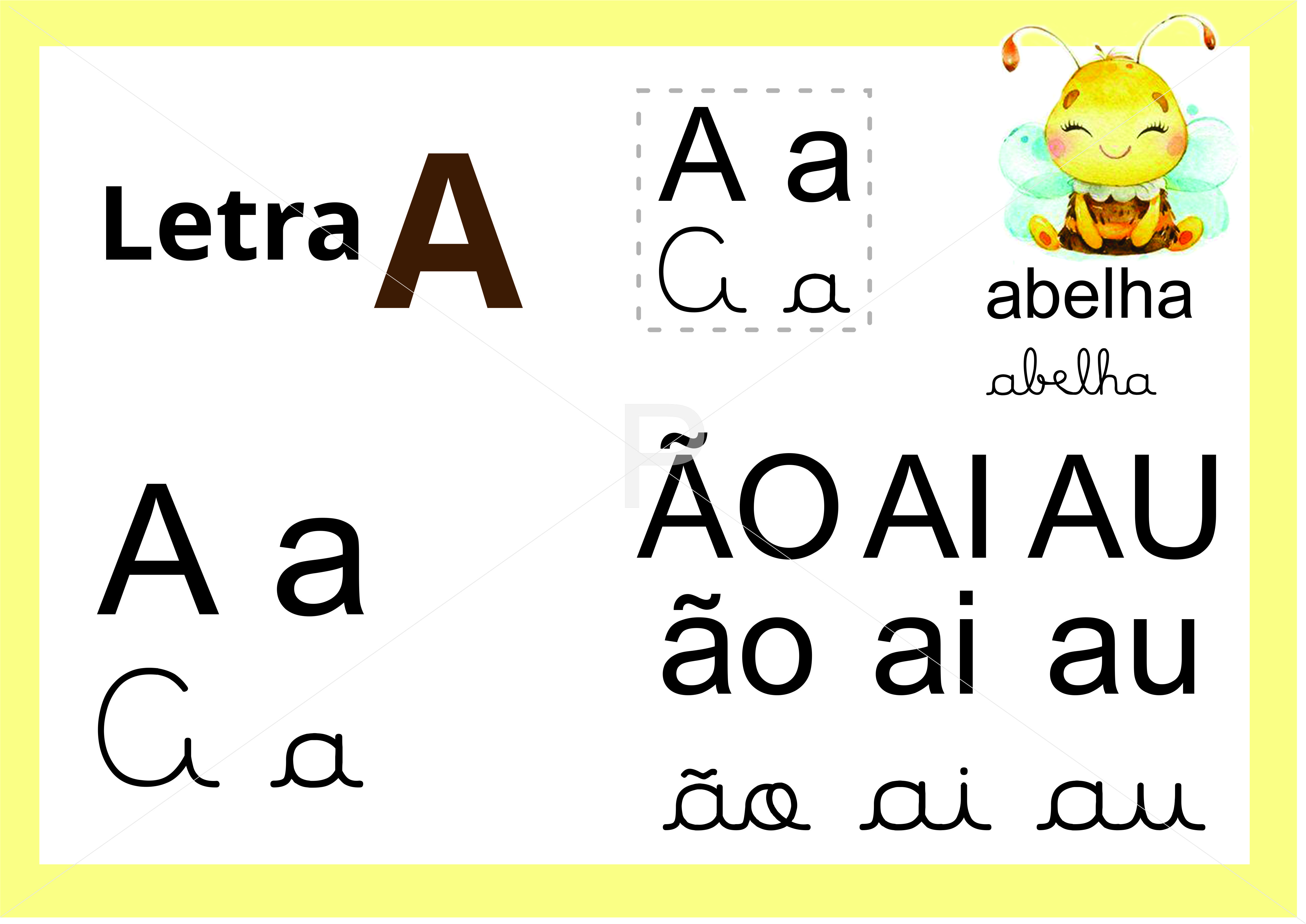 Letra A Maiusculo Minusculo Manuscrito E Caixa Alta Alfabeto