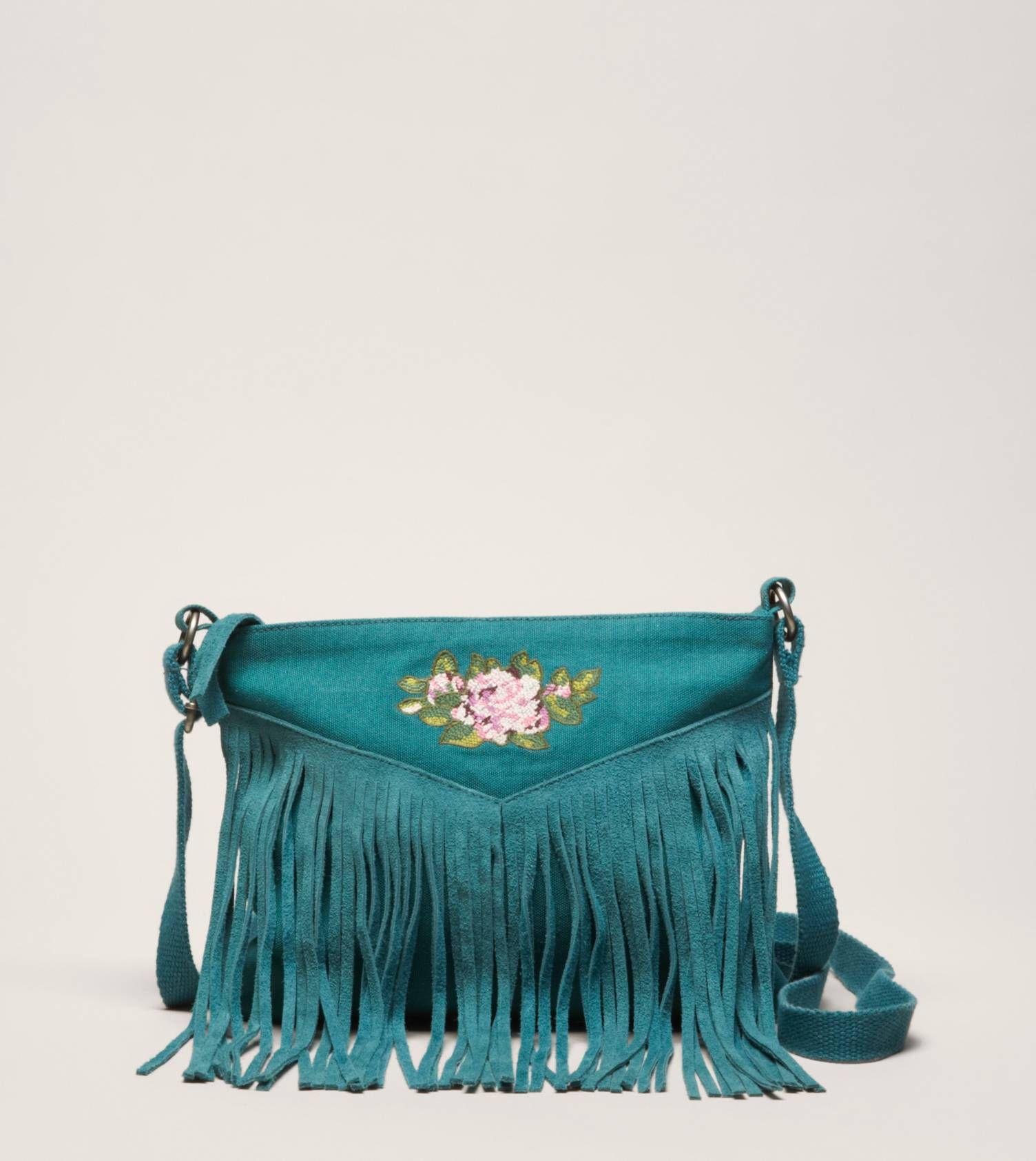 Teal Fringe Bag with Floral Motif