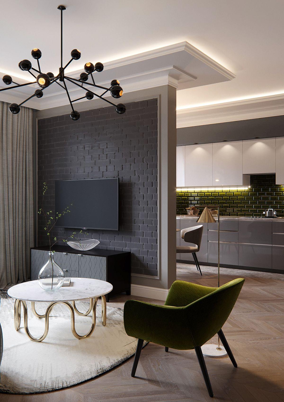 French style apartment im genes dise o interiores for Cocina abierta al comedor y sala de estar