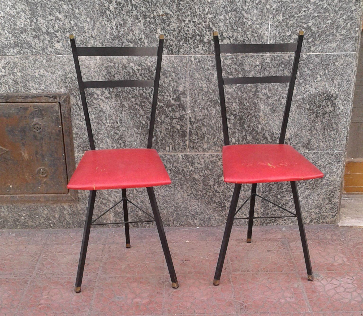 Coppia di sedie anni \'60 in ferro con fondo rosso vintage italian design