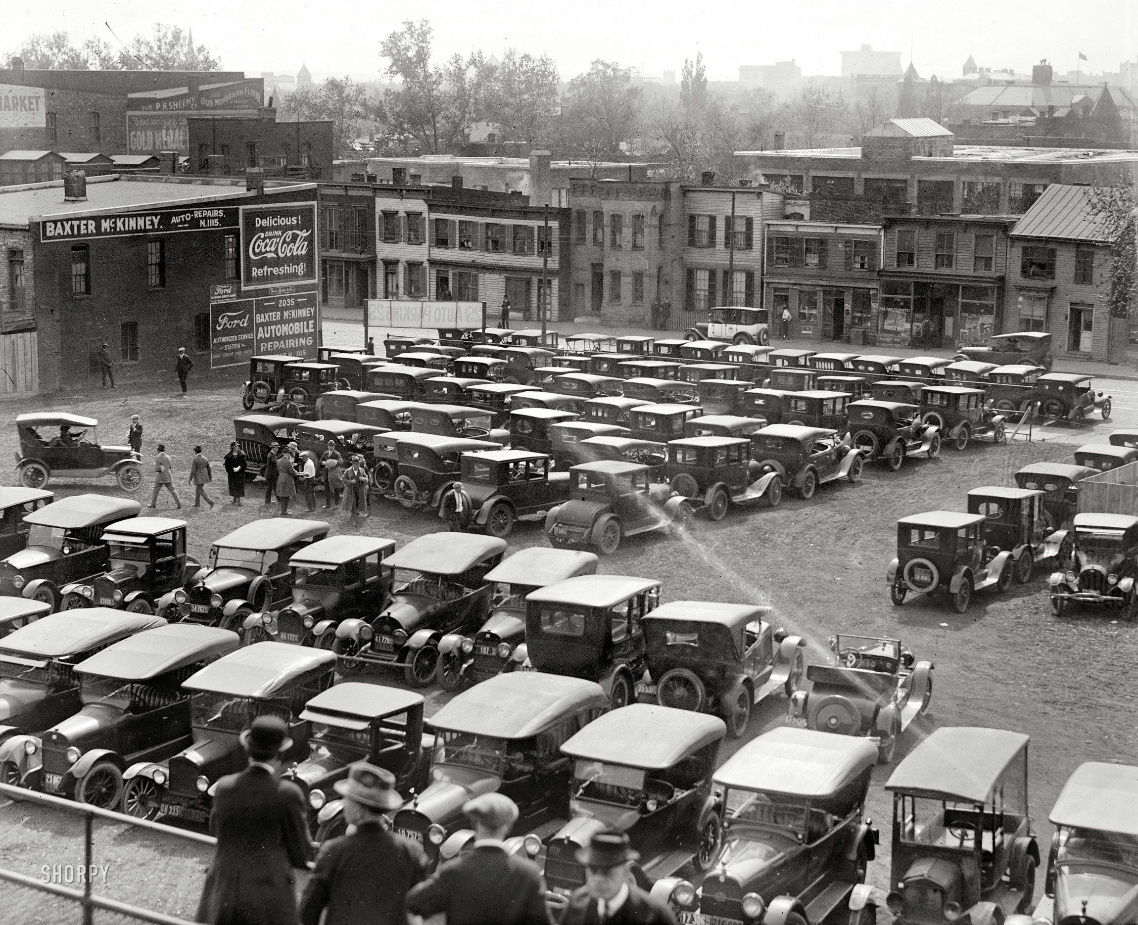 auto parking at a nats a s game in 1923 25 cents photo old photos car dealership pinterest