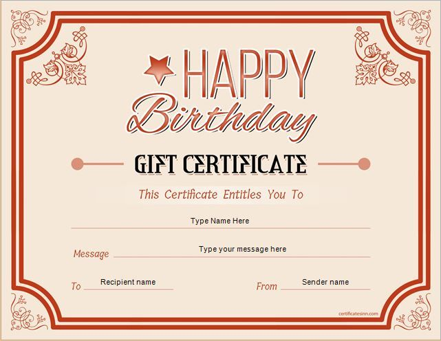 Birthday Gift Certificate For Ms Word Download At Http