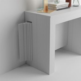 Tavolo Consolle Allungabile Bianco.Extendable Console Table With Easy Extension Holder White