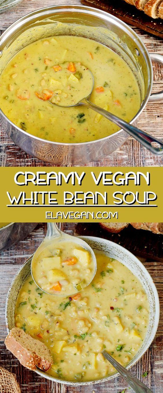 Vegan White Bean Soup With Potatoes Creamy 1 Pot Recipe Di 2020 Resep Seafood Resep Vegetarian Sup Kacang