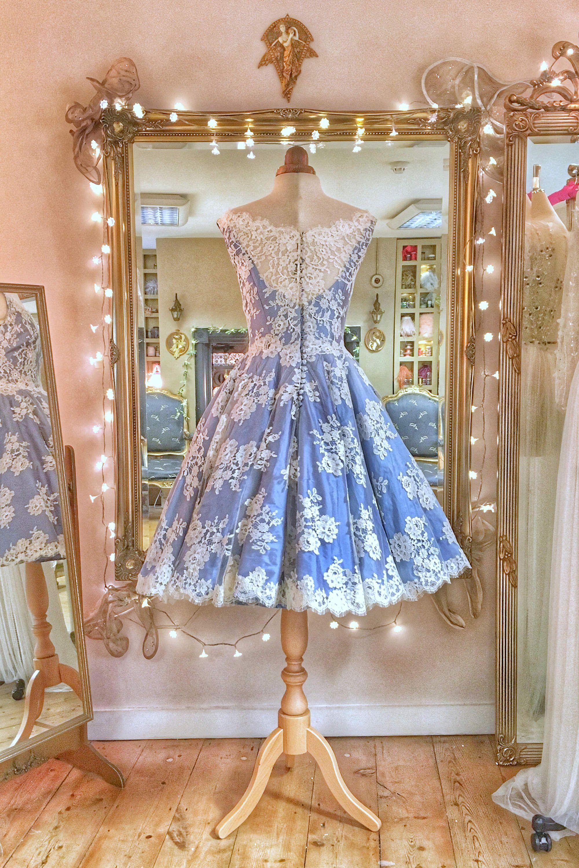 Blue Silk Lace Tea Length Wedding Dress with Pockets Tea