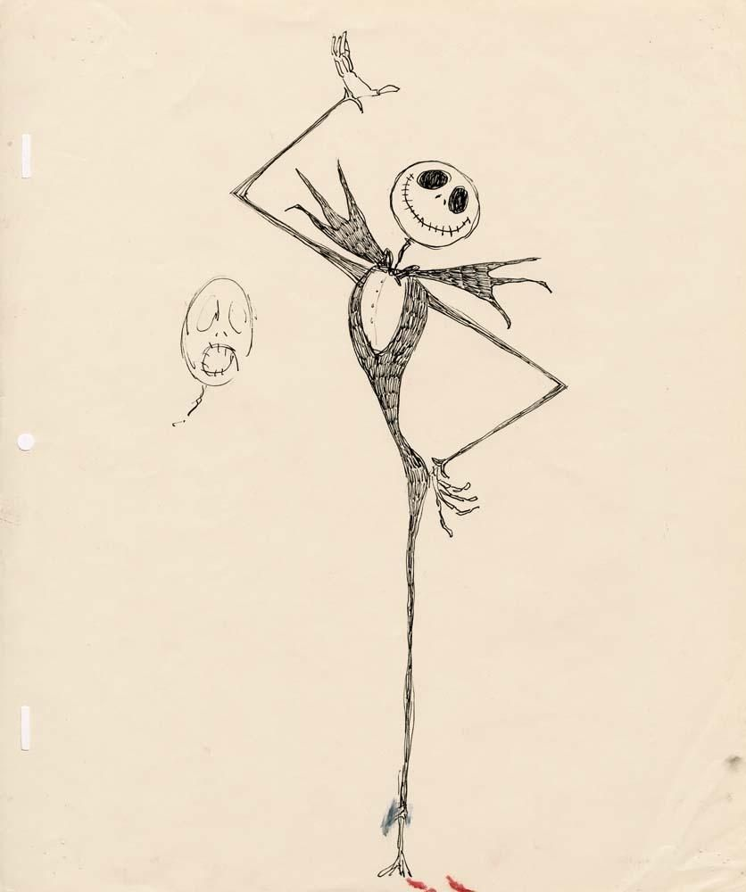 Tim Burton Nightmare Before Christmas Artwork.Original Tim Burton Artwork For Jack Skellington From The