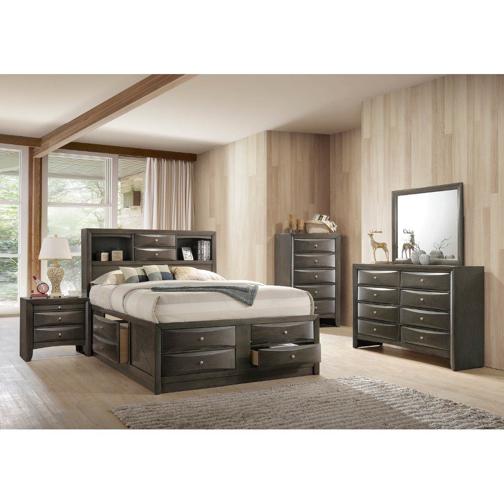 Best Contemporary Gray 4 Piece King Bedroom Set Emily 400 x 300
