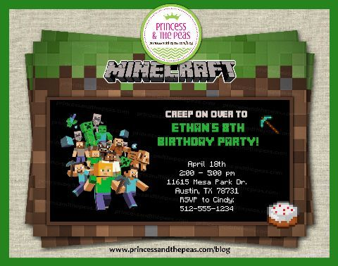 Personalized Minecraft InvitationPrintable Minecraft Invitation – Mine Craft Invitation Template