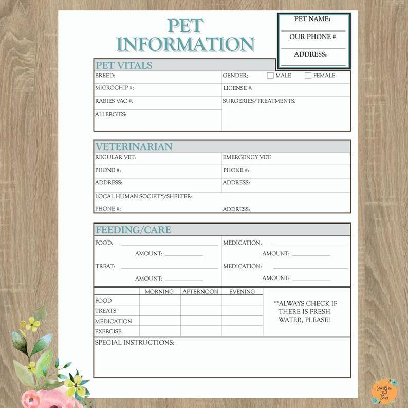 Pet Information Form Pet Sitter Dog Walker House Sitter