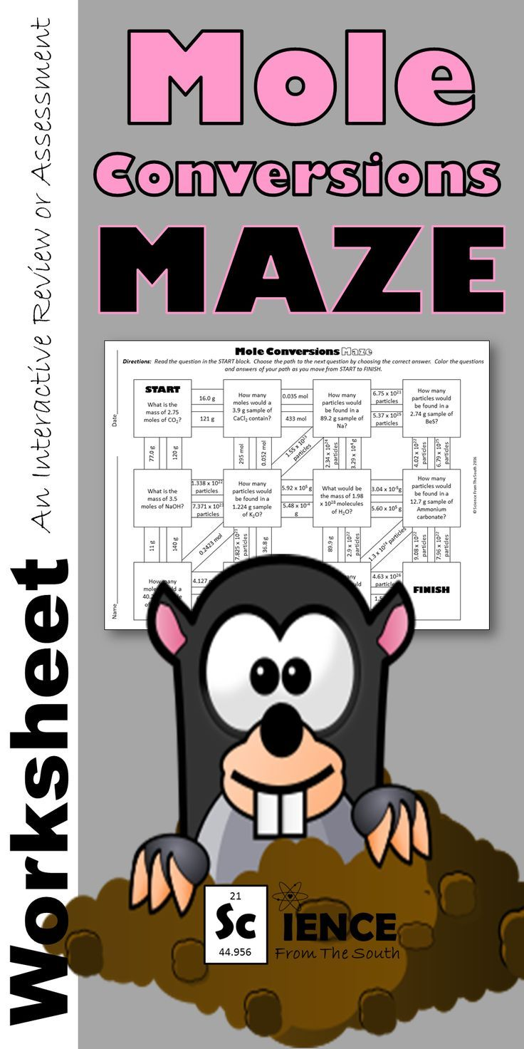 Mole Conversions Maze For Review Or Assessment Mole Conversion Chemistry Activities Mole Day