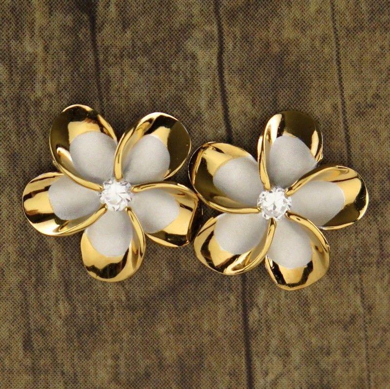 a043dd116 New Hawaiian Jewelry 925 Sterling Silver Earrings Gold Trim Plumeria CZ  SE53245 in Jewelry & Watches, Fashion Jewelry, Earrings | eBay
