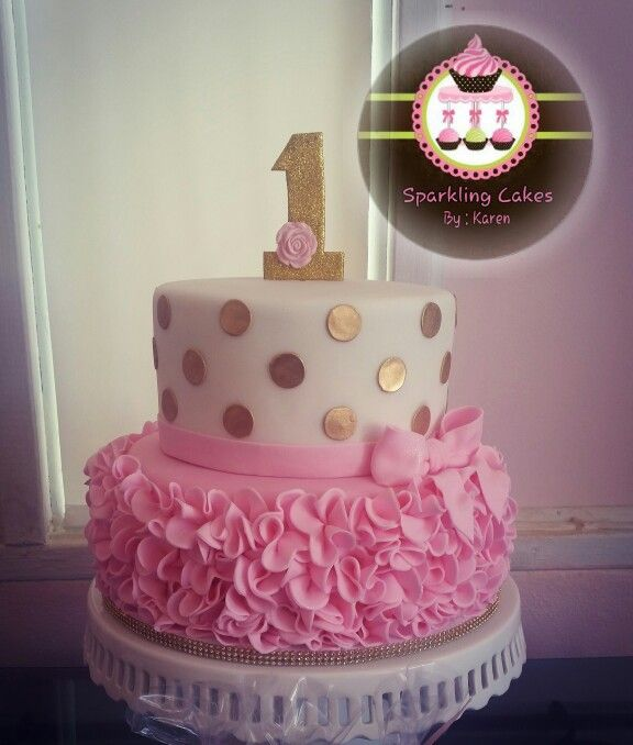 Gold polka dots and pink ruffle cake | My creations | Birthday cake ...