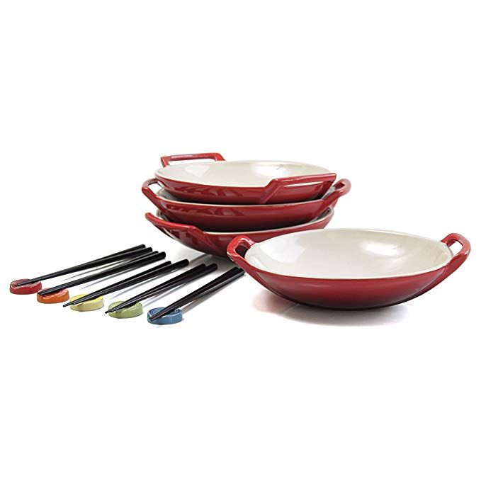 Le Creuset Cherry Stoneware Set Of 4 Wok Dish With Chopstick Rests And Chopsticks Review