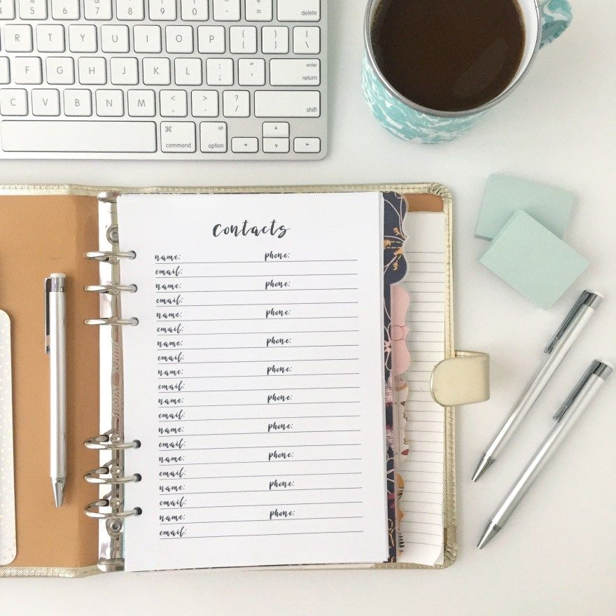 Contacts List: Free Printable Planner Insert