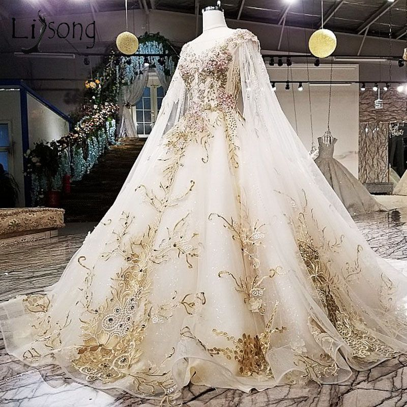 Gorgeous Embroidery Wedding Dresses 2018 Cloak Liques Rhinestone Bridal Gowns Royal Train Illusion Back Vestidos De Noiva In From