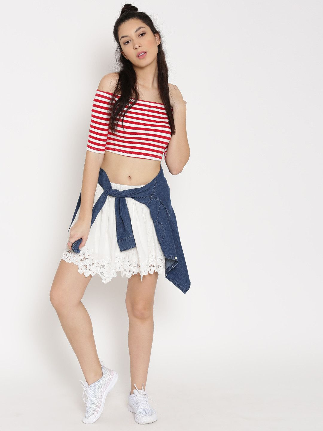 99b4bea5e9b654 FOREVER 21 Women Red & White Striped Off Shoulder Crop Top #striped #red # white