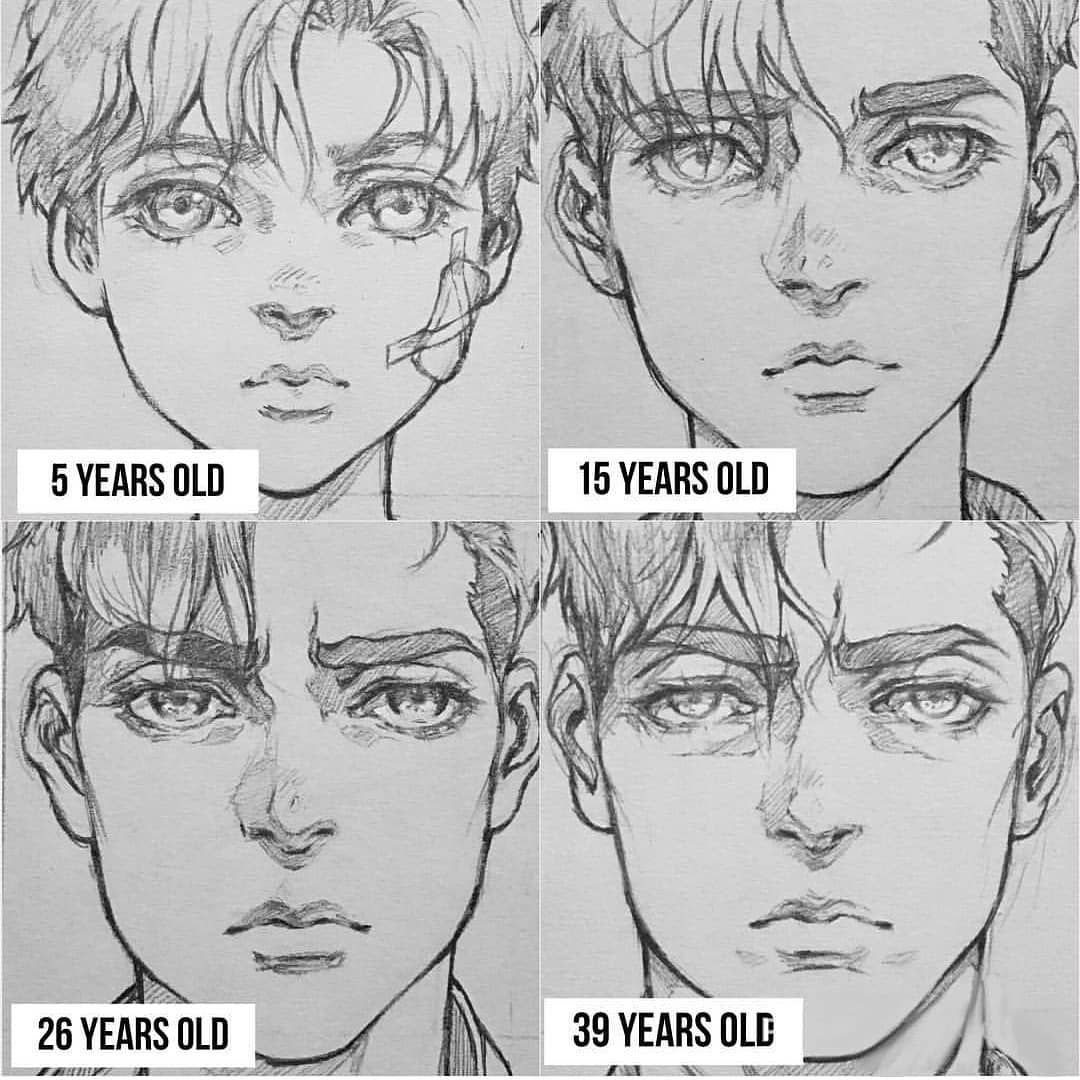Anime Art Reference Tutorials On Instagram I Find It So Hard To Express Age Through Drawing Ages By Thisuserisalive Drawing People Male Sketch Sketches