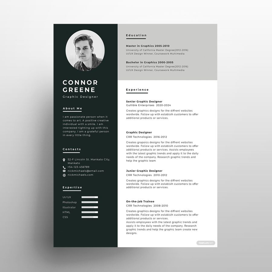 Experience Resume Free PSD Template in 2020 Psd template
