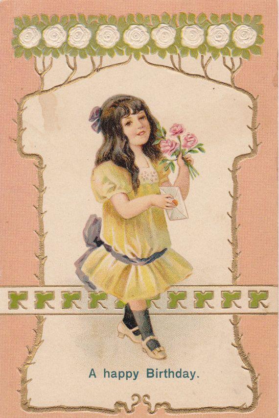 Edwardian Birthday Girl- 1900s Antique Postcard- Happy