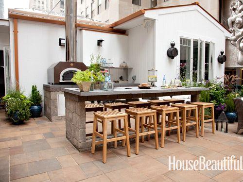 House Beautiful Kitchen of the year Fresh air Pinterest Jardins - Cuisine D Ete Exterieure En Pierre