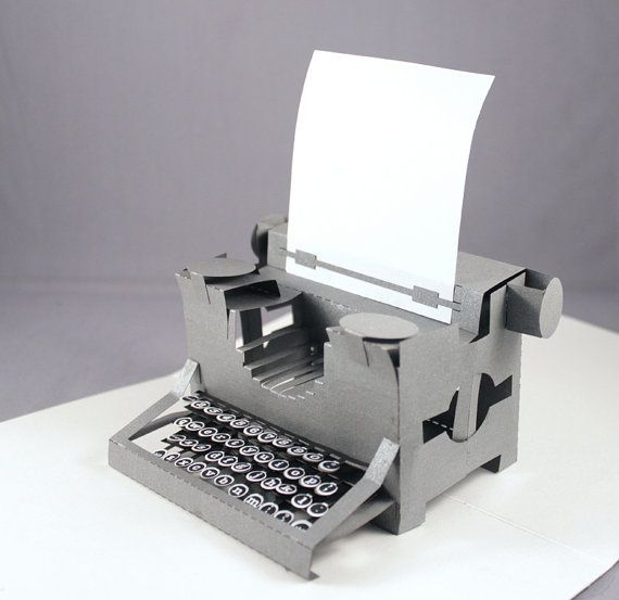 Popup Card Yes A Popup Card The Card Folds Flat For Posting And Opens Out To Reveal A Typewriter Including Printed Keys And A Typewriter Pop Up Cards Pop Up