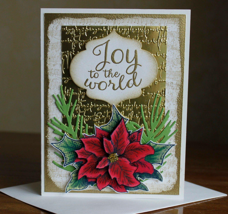 handmade holiday card all occasion card poinsettia card