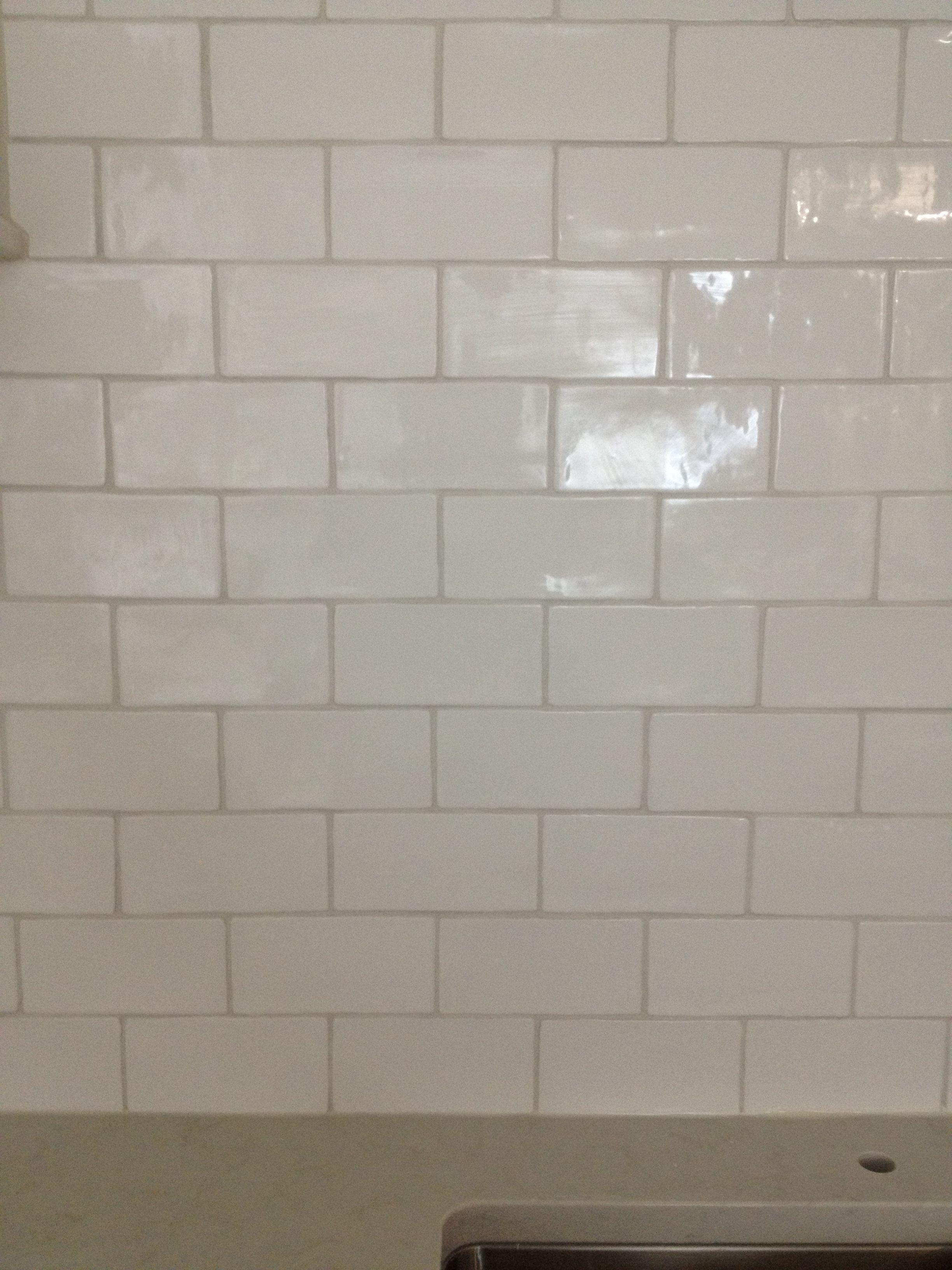 Handmade White Gloss Subway Tile Light Grey Grout Bath Renovation Bathroom Renovation Renovations