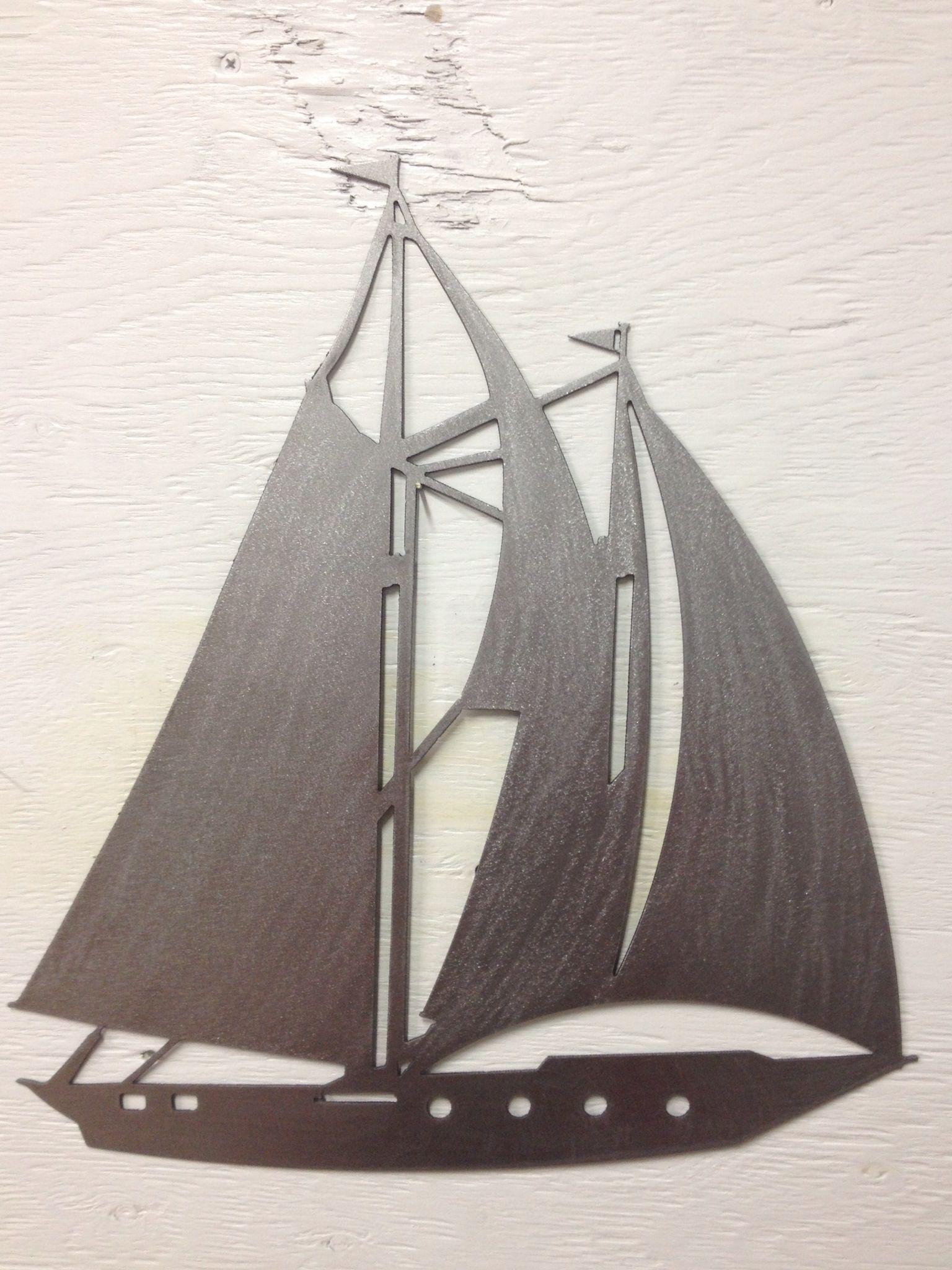 "Metal Sailboat Wall Art metal sailboat silhouette, wall hanging 15"" x 17"" | fresh water"