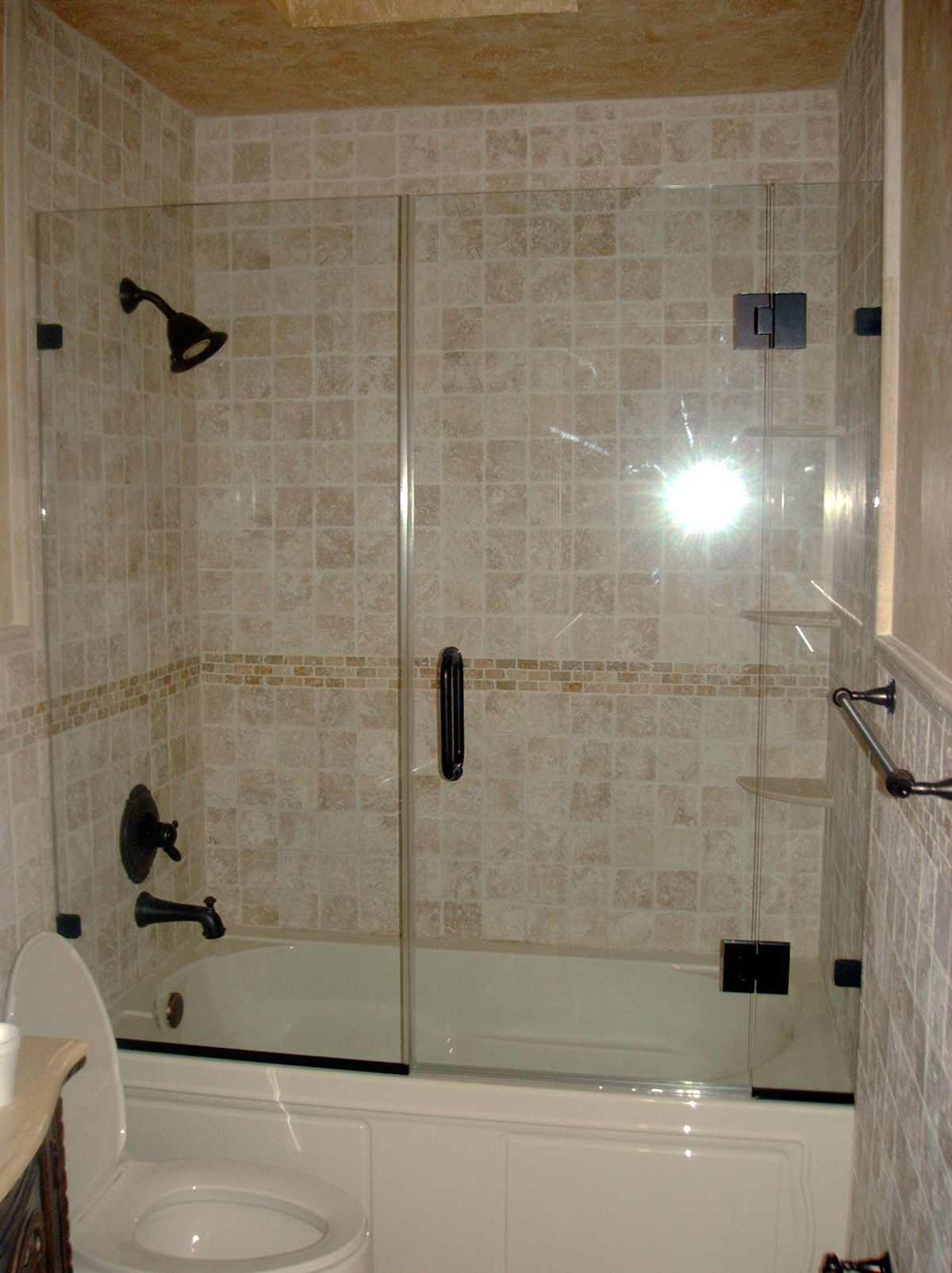 shower large tub glass for photo stock with and bath door bathroom bathtub